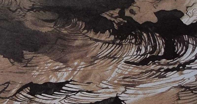 """Ce détail d'un dessin de Victor Hugo représente le flot """"terrible et magnifique"""" où les """"monstres sont à l'aise dans sa profondeur glauque"""". L'un d'eux apparaît en haut à droite de cette représentation."""