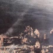 """Ce détail d'un dessin de Victor Hugo représente des ruines, des pierres, enfouies dans les profondeurs, et éclairées par un rayon venu du ciel. Sur la droite, apparaît la """"bouche d'ombre""""."""