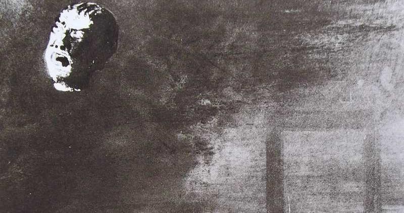 """Ce détail d'un dessin de Victor Hugo représente une """"tête coupée"""" qui flotte en haut à gauche, telle une lune dans le ciel, tandis qu'apparait en bas à droite le haut de la guillotine, une fois le fer tombé."""