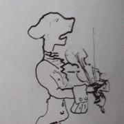 Ce détail d'un dessin de Victor Hugo représente un ahuri, vêtu d'une redingote, avec un jabot, prêt à jouer du violon, l'archet levé.