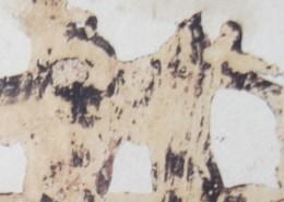 Ce détail d'un dessin de Victor Hugo représente, sur la droite, un fantôme portant un singe sur son épaule ; à gauche, une forme enjambe une tête couchée.