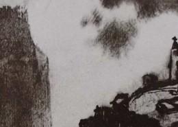 Ce détail d'un dessin de Victor Hugo représente un abîme. D'un côté, à gauche, juché sur un promontoire, une forteresse, de l'autre, la silhouette d'un homme coiffé d'un chapeau, qui observe.