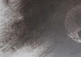 """Ce détail d'un dessin de Victor Hugo représente, de façon abstraite, le gazouillement de Jeanne perçu par """"Dieu, le bon vieux grand-père"""", sous forme d'ondes émises, à gauche, en direction d'une sphère située à droite."""