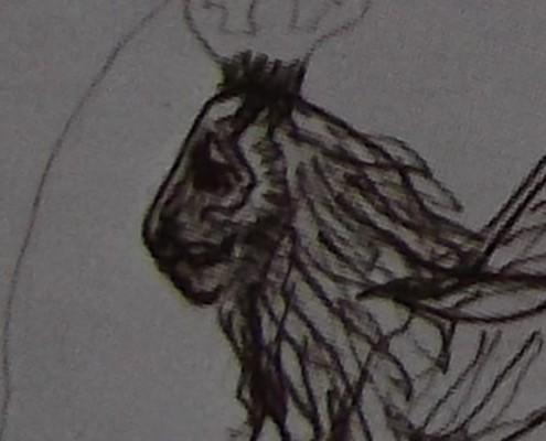 Ce détail d'un dessin de Victor Hugo représente la face, vue de profil (sic), d'un lion avec une couronne sur sa crinière.
