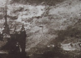 Ce détail d'un dessin de Victor Hugo représente un château enveloppé d'éclairs et de brume, dus au combat d'Olivier et Roland, que l'on ne voit pas.