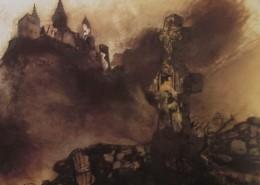 Ce détail d'un dessin de Victor Hugo représente un château fort au pied duquel est un affreux cimetière. De la croix s'échappe une nuée sombre qui se dirige vers le castel.