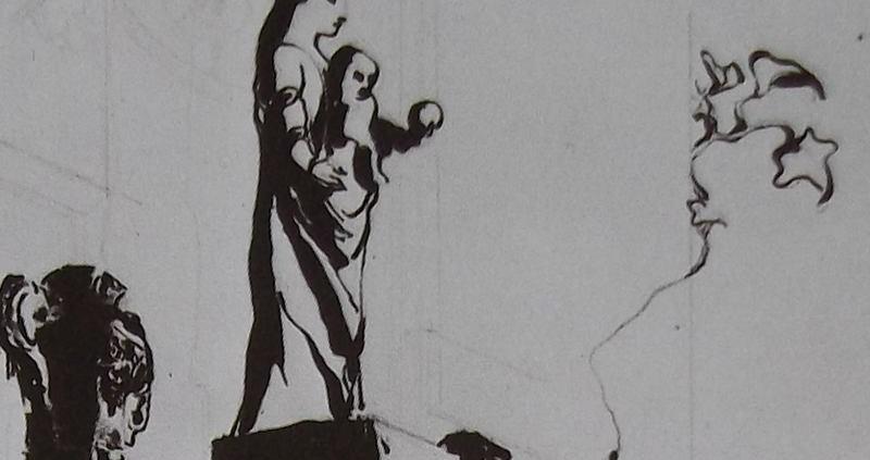 Ce détail d'un dessin de Victor Hugo représente des sculptures au sommet d'un temple (ou d'un autel). Un masque grimaçant qui est peut-être un pot et une statue de vierge à l'enfant présentant un globe ou un fruit de sa main gauche. Sue le coté se tord une vigne dont l'une des feuilles est une étoile.