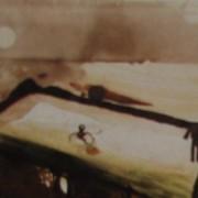 Ce détail d'un dessin de Victor Hugo représente un horizon au-dessus duquel apparaît la lune (ou le soleil ?). Au premier plan, dans un bassin, on aperçoit un homme, exilé et contemplant cet horizon.