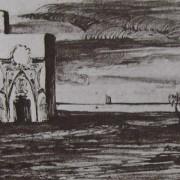 Ce détail d'un dessin de Victor Hugo représente un édifice oriental, dans une grande plaine, au bord d'un lac. L'ombre d'Abd-el-Kader place dans les cieux.