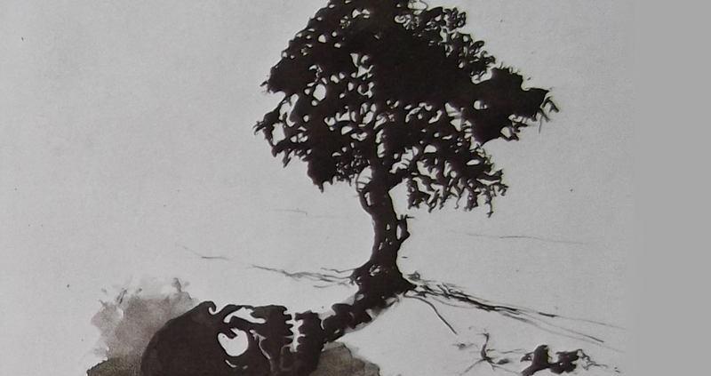 Ce détail d'un dessin de Victor Hugo représente la silhouette d'un arbre et son ombre projetée où apparaît une tête de mort.