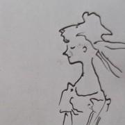 """Ce détail d'un dessin de Victor Hugo représente une femme qui éveille des pensée d'""""amour, d'extase et d'ivresse"""" chez le poète."""