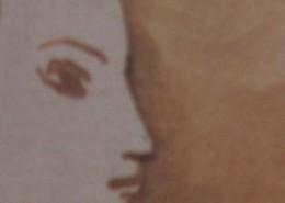 """Ce détail d'un dessin de Victor Hugo représente les yeux, le nez et la bouche boudeuse d'un profil de femme offert au """"doux rêveur qui veut aimer""""."""