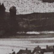 Ce détail d'un dessin de Victor Hugo représente une colline, au-dessus d'un cours d'eau, sur laquelle se profile la silhouette d'un moulin et une autre bâtisse. On aperçoit, en bas de l'image, les toits de Chelles.