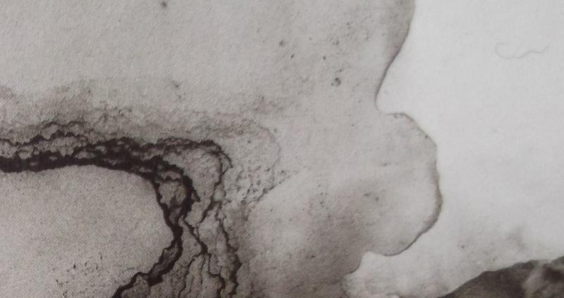 """Ce détail d'un dessin abstrait de Victor Hugo représente une sorte d'amibe se déplaçant comme une """"pensée indistincte qu'on a"""", où toute """"rive s'efface""""."""