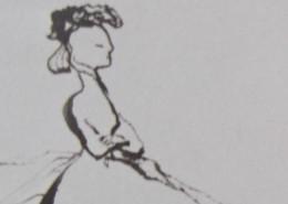 Ce détail d'un dessin de Victor Hugo représente le profil un peu rigide d'une jeune femme indifférente, assise bras croisés.