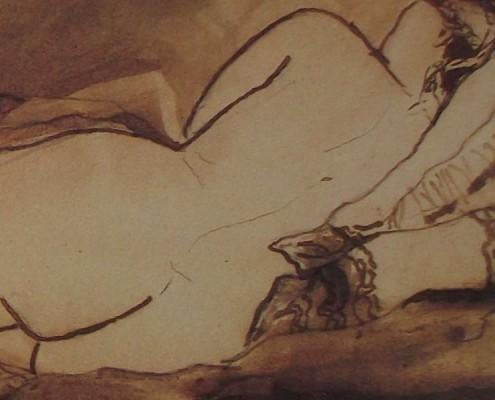 """Ce détail d'un dessin de Victor Hugo représente le dos nu, de la tête aux fesses, d'une femme qui s'offre, pas vraiment """"chaste comme l'orient""""."""