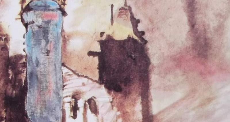 Ce détail d'un dessin de Victor Hugo représente deux tours d'un château dans lequel habite le duc d'Athène, Cordon bleu. Le ciel bleu se reflète dans l'une de ces tours.