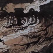 """Ce détail d'un dessin de Victor Hugo représente la """"vague, roue errante, et l'écume, cavale"""" et des """"gouffres d'ombre""""."""