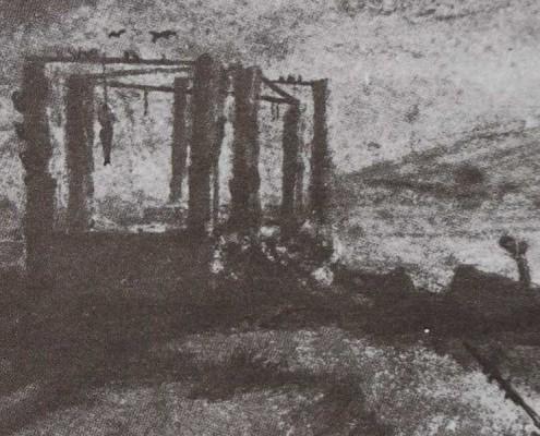 Ce détail d'un dessin de Victor Hugo représente un gibet, auquel est accroché un pendu, et des lambeaux de tissu.