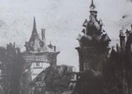 Ce détail d'un dessin de Victor Hugo représente deux tours qui pointent vers le ciel au-dessus des toits.
