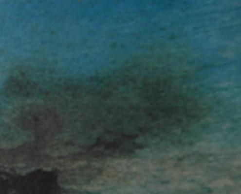 """Ce détail d'un dessin de Victor Hugo représente le """"ciel d'où nous venons"""", à l'instant où il """"peut nous rouvrir ses portes"""", avec, en bas à gauche l'ombre de la vie matérielle qui nous aspire, et à droite, le firmament plein de la vaste clarté de l'amour."""