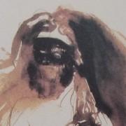 Ce détail d'un dessin de Victor Hugo représente le visage masqué d'une femme au buste nue, masquée, et aux cheveux flamboyants.