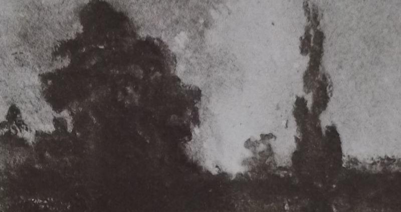 Ce détail d'un dessin de Victor Hugo représente un feu (l'ardente jalousie, âcre et fatal poison ?) au loin dans la forêt.