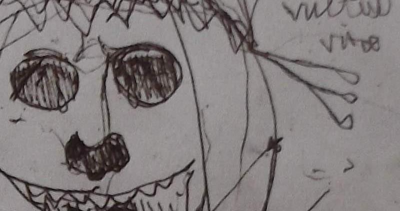 Ce détail d'un dessin de Victor Hugo représente une tête de mort sous un voile de mariée près de laquelle apparaissent les mots Vultus Vitae.