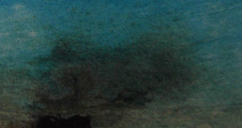 """Ce détail d'un dessin de Victor Hugo représente un coin de ciel bleu et un nuage d'oiseaux, """"buveurs d'azur faits pour s'enivrer d'air"""" qui s'envolent d'une île."""