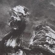 Ce détail d'un dessin de Victor Hugo représente un coq poussant son cri.